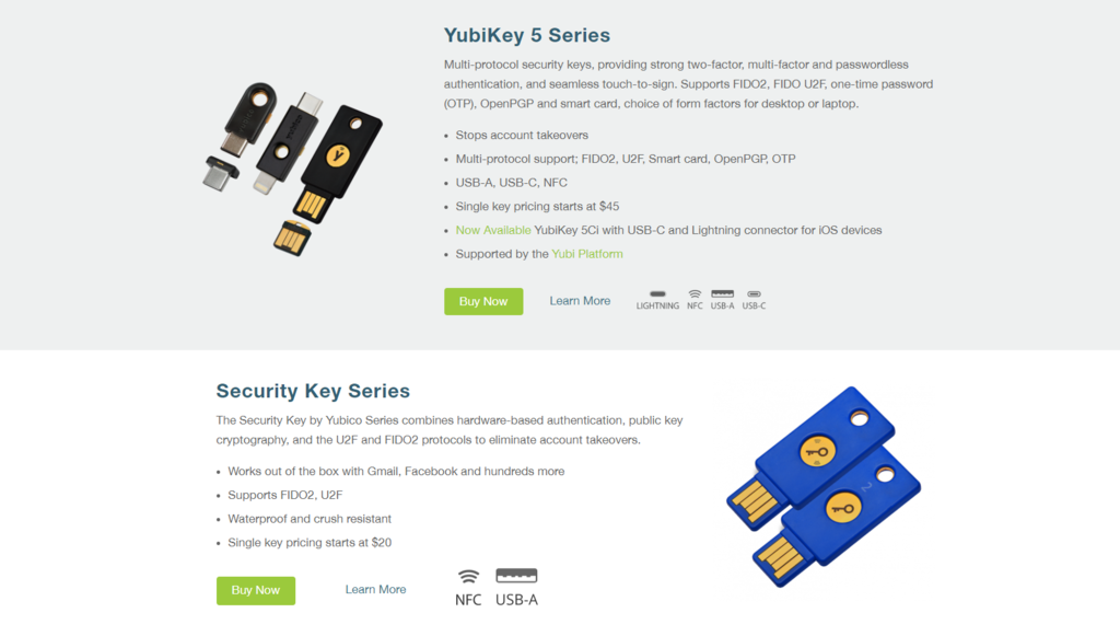"""According to Yubico's official website, the basic model """"Security Key by Yubico"""" without NFC wireless transmission system is the cheapest, and it can be started for US $ 20 (about HK $ 157). (Screenshot of Yubico's official website)"""