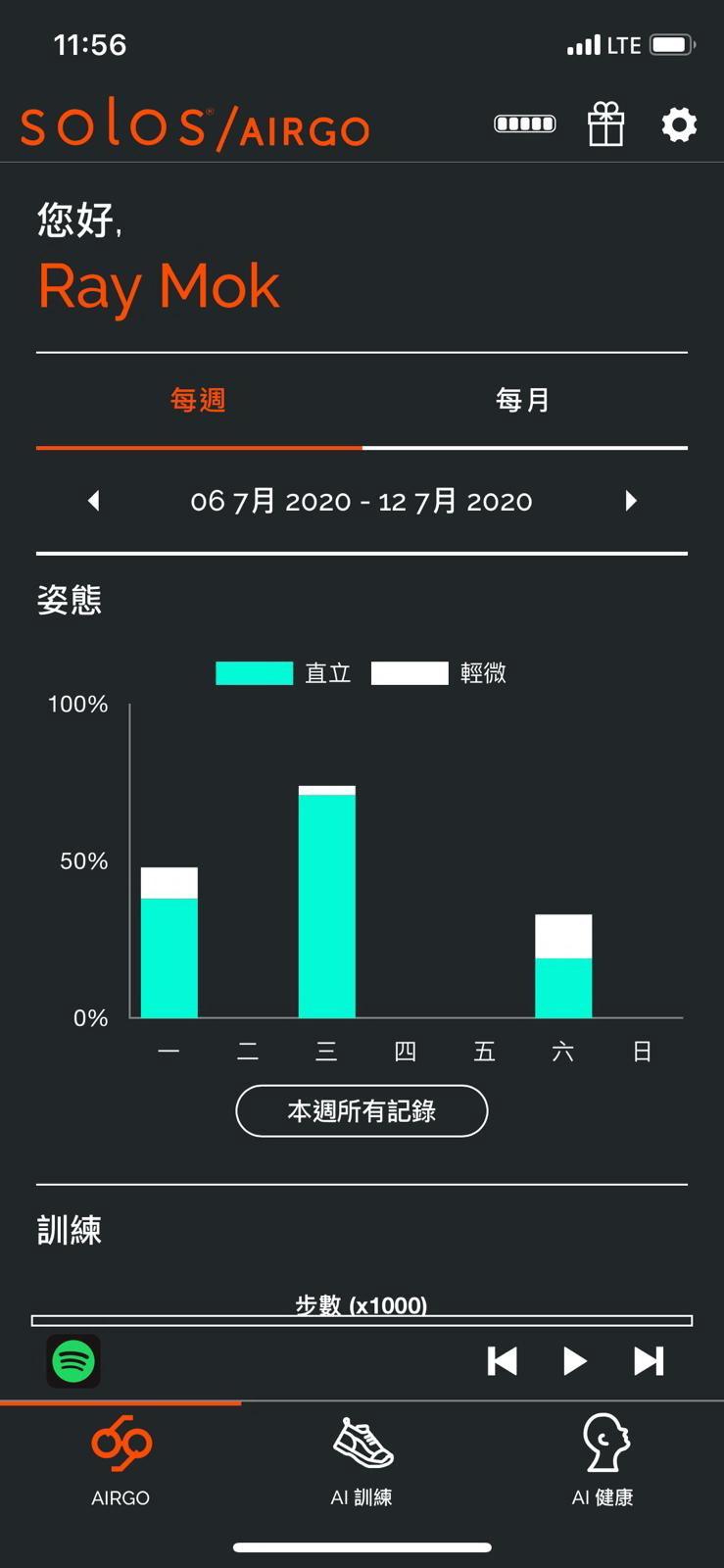 整個星期的運動練習記錄,你都可以從 apps AirGo中看到,輕而易舉。(熒幕截圖)