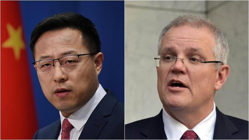 針對趙立堅(左)的推文,莫里森(右)要求中國道歉。