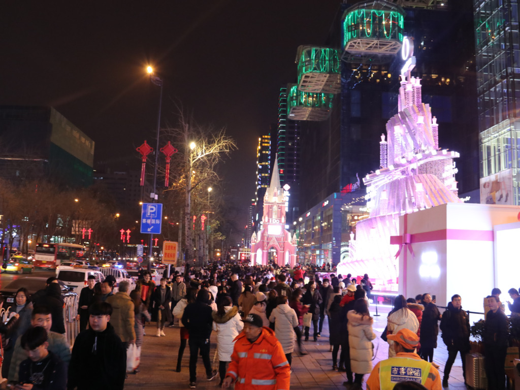 西安商業區的聖誕裝飾。