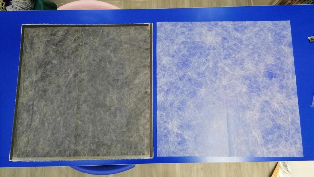 奧海城商場使用AIR CON MASK一個月的情況。左為使用後,右為使用前。(Filter King提供圖片)