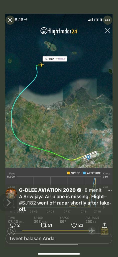 涉事客機從雅加達機場起飛後不久,飛至離岸不遠處,便失去聯繫。