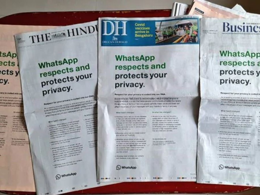 WhatsApp在印度所有報章刊登頭版廣告,強調WhatsApp尊重用戶私隱