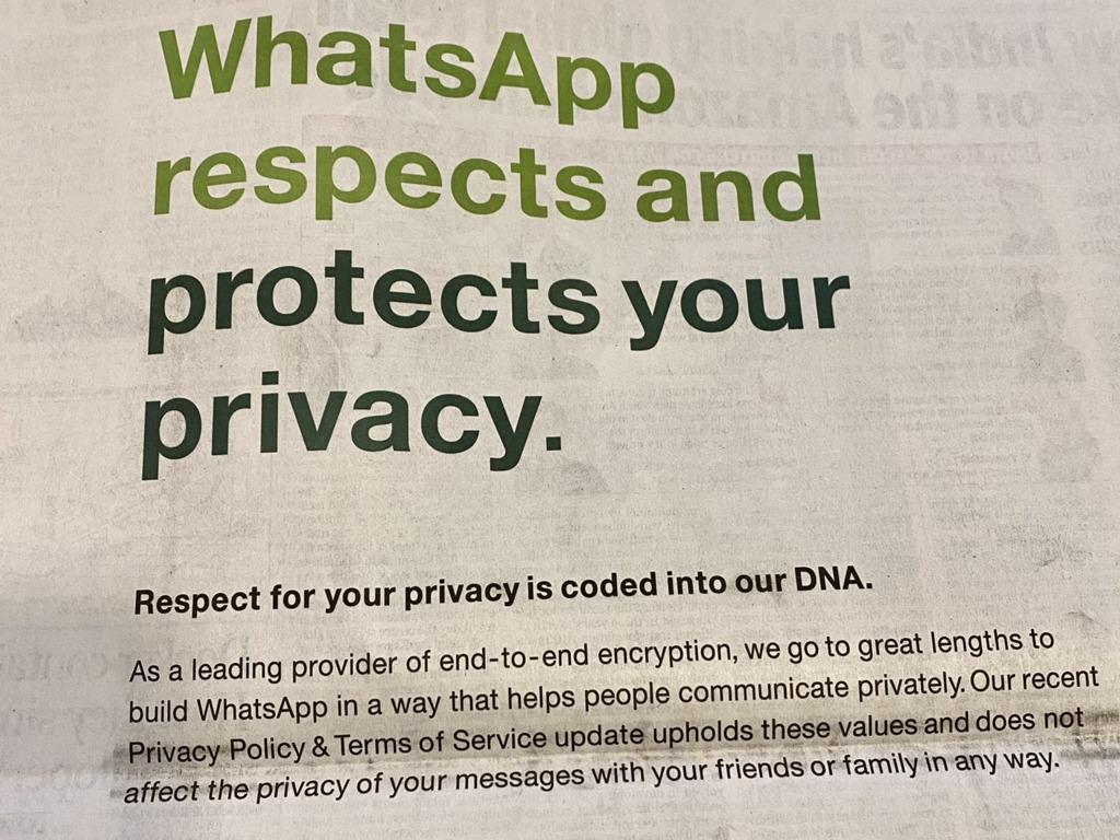 以「WhatsApp尊重且保障你的私隱」及「尊重你的隱私已寫入我們的DNA」為標題及副題